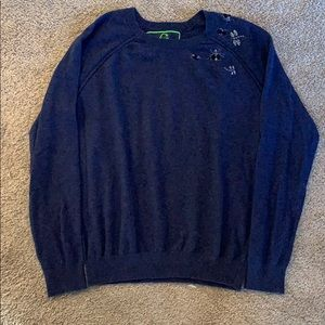 Preppy Navy C Wonder sweater with beaded bugs.